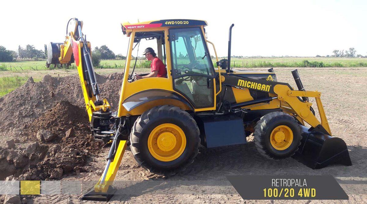Pala cargadora frontal y retro 100/20 4WD Michigan maquinarias tractores retro agroman